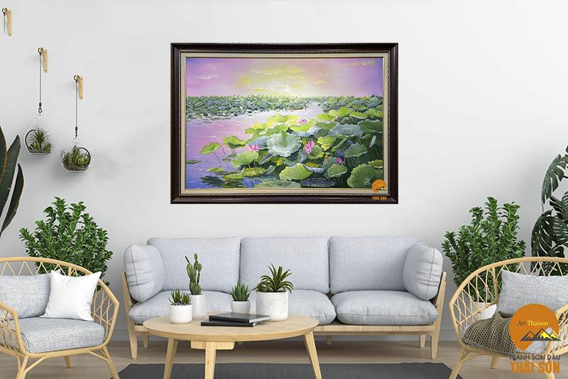 [Bật Mí] 3 tips chọn bức tranh phong cảnh đầm sen trang trí ngôi nhà